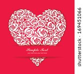 floral heart symbol with paper... | Shutterstock .eps vector #169451066