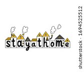 stay at home. covid 19... | Shutterstock .eps vector #1694525512