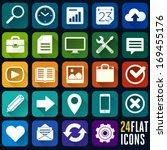 set of 24 flat icons