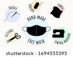 hand made medical face mask.... | Shutterstock .eps vector #1694555395