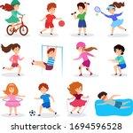 kids do sport  vector... | Shutterstock .eps vector #1694596528