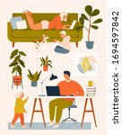 a woman on the couch  a man at... | Shutterstock .eps vector #1694597842