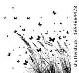 grass with butterflies. vector... | Shutterstock .eps vector #1694664478