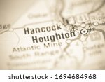 Houghton. Michigan. USA on a geography map.