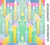 vector colorful castle seamless ... | Shutterstock .eps vector #1694693518