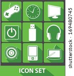 media icons green buttons vector