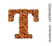coffee bean font. alphabet...   Shutterstock . vector #1694843032