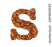 coffee bean font. alphabet...   Shutterstock . vector #1694843035