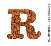 coffee bean font. alphabet...   Shutterstock . vector #1694843038