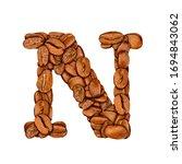 coffee bean font. alphabet... | Shutterstock . vector #1694843062