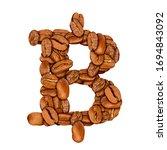 coffee bean font. alphabet... | Shutterstock . vector #1694843092