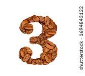 coffee bean font. alphabet... | Shutterstock . vector #1694843122