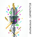 engraved style retro microphone ... | Shutterstock .eps vector #1694874718