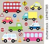 cute vehicles  transport set | Shutterstock .eps vector #169487585