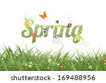 Spring Word And Grass. Eps 10...