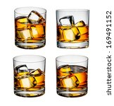whiskey with ice on a white... | Shutterstock . vector #169491152