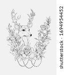 Black And White Sketch Deer In...