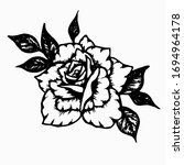 rose with leaves. hand drawn... | Shutterstock .eps vector #1694964178