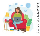 home office concept  woman... | Shutterstock .eps vector #1694989492