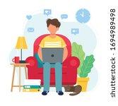 home office concept  man... | Shutterstock .eps vector #1694989498