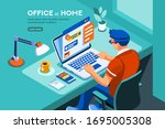 home with boy working in... | Shutterstock .eps vector #1695005308