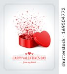 Happy Valentine's day card and open heart gift and flow hearts vector background | Shutterstock vector #169504772