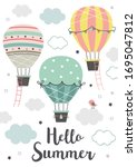 poster with three hot air...   Shutterstock .eps vector #1695047812