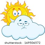 happy sun smiling behind a sad... | Shutterstock . vector #169506572