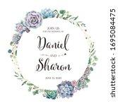 beautiful greenery wedding... | Shutterstock .eps vector #1695084475