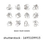 Hand Hygiene Line Icon Set....