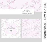 cute delicate hand drawn cherry ... | Shutterstock .eps vector #1695114718