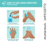 how to use hand sanitizer... | Shutterstock .eps vector #1695120772