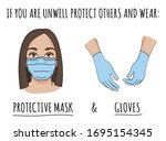 wear protective gloves and mask ... | Shutterstock .eps vector #1695154345