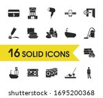 travel icons set with checkout...