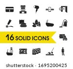 hotel icons set with checkout...