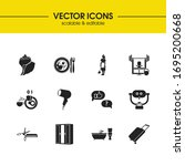 hotel icons set with hairdryer  ...