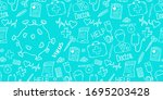 medical background with virus... | Shutterstock .eps vector #1695203428
