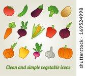 vector icon set of vegetables | Shutterstock .eps vector #169524998