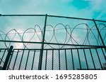 Barbed wire and fence of a...