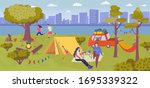 camping picnic in summer forest ... | Shutterstock .eps vector #1695339322
