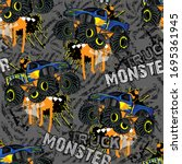 abstract seamless monster truck ... | Shutterstock .eps vector #1695361945