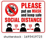warning sign put on mask and... | Shutterstock .eps vector #1695419725