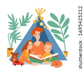 family isolation stay at home... | Shutterstock .eps vector #1695425212
