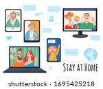 stay at home isolation vector...   Shutterstock .eps vector #1695425218