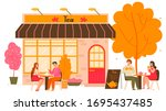 Tea House In Autumn City With...