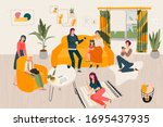 hygge home big family together  ... | Shutterstock .eps vector #1695437935