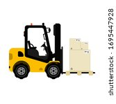Isolated Forklift With Pallet...