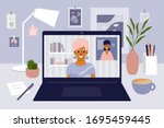 stay  work from home. video... | Shutterstock .eps vector #1695459445