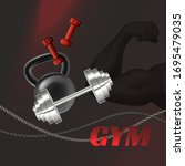 gym advertisement poster with... | Shutterstock .eps vector #1695479035