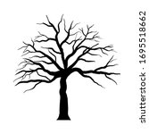 Halloween Cartoon Tree. Black...